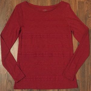 Express Red Lace Long-Sleeve Top